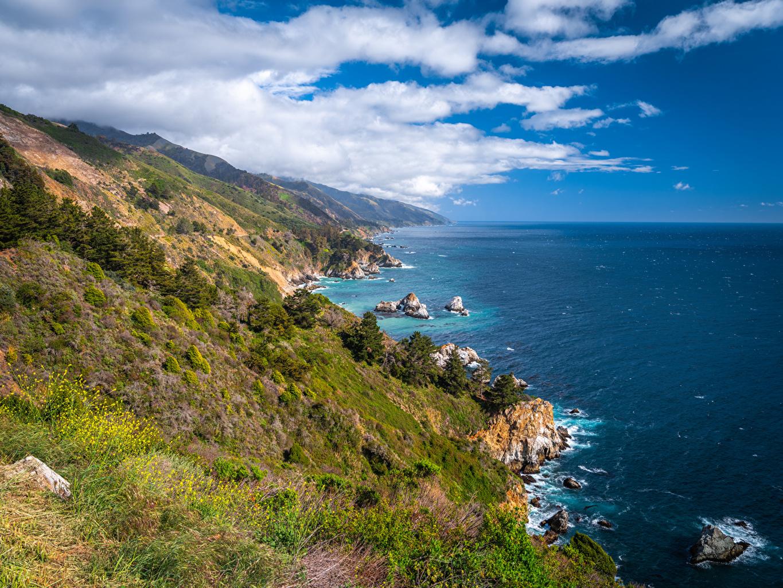 Фотографии калифорнии США Big Sur Океан Скала Природа Побережье облачно Калифорния штаты америка Утес скале скалы берег Облака облако