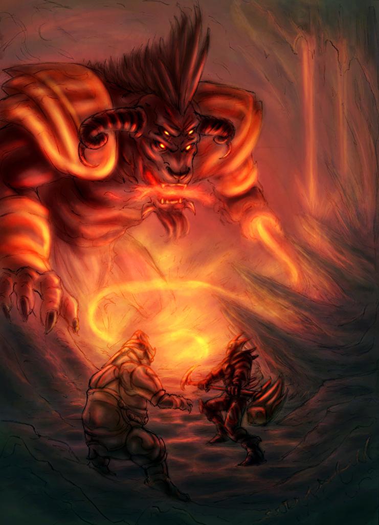 Картинки Чудовище воины Фантастика Монстры Воители Фэнтези