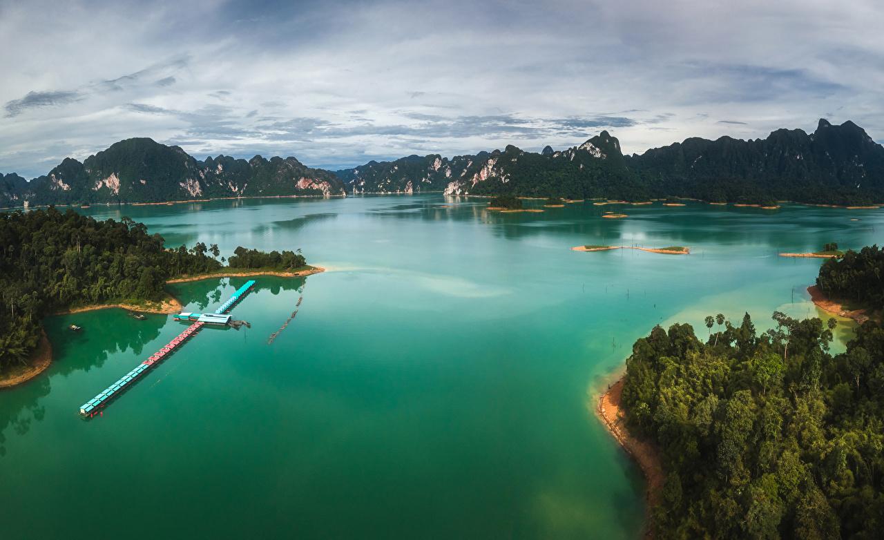 Картинки Таиланд Горы Природа тропический залива Причалы гора Тропики Залив Пирсы заливы Пристань
