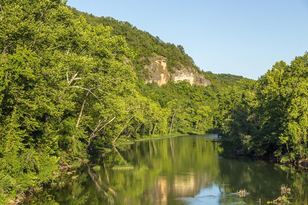 Фотографии штаты Missouri Ozarks скале Природа Леса река США америка Утес Скала скалы лес Реки речка