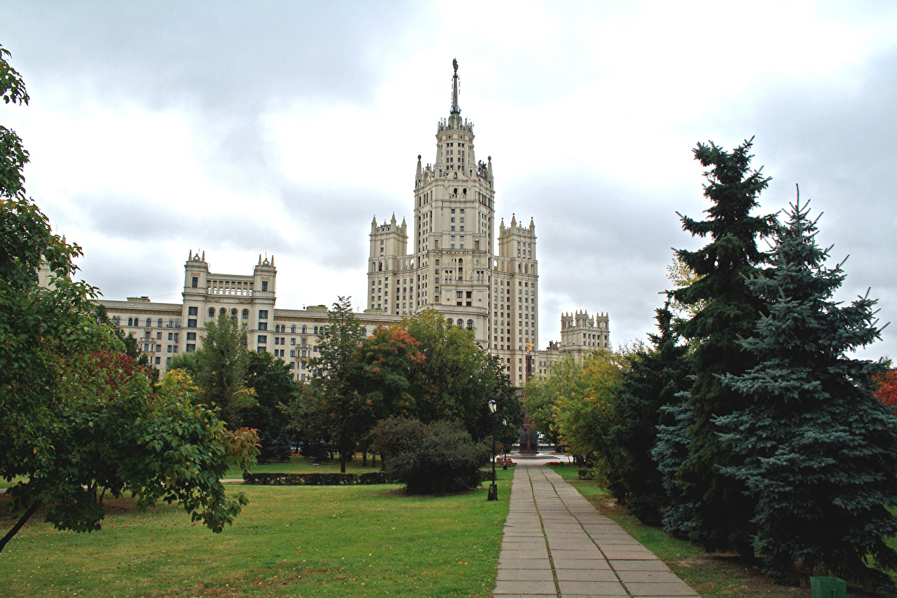 Фотография Москва Россия Ель Дома Города Здания