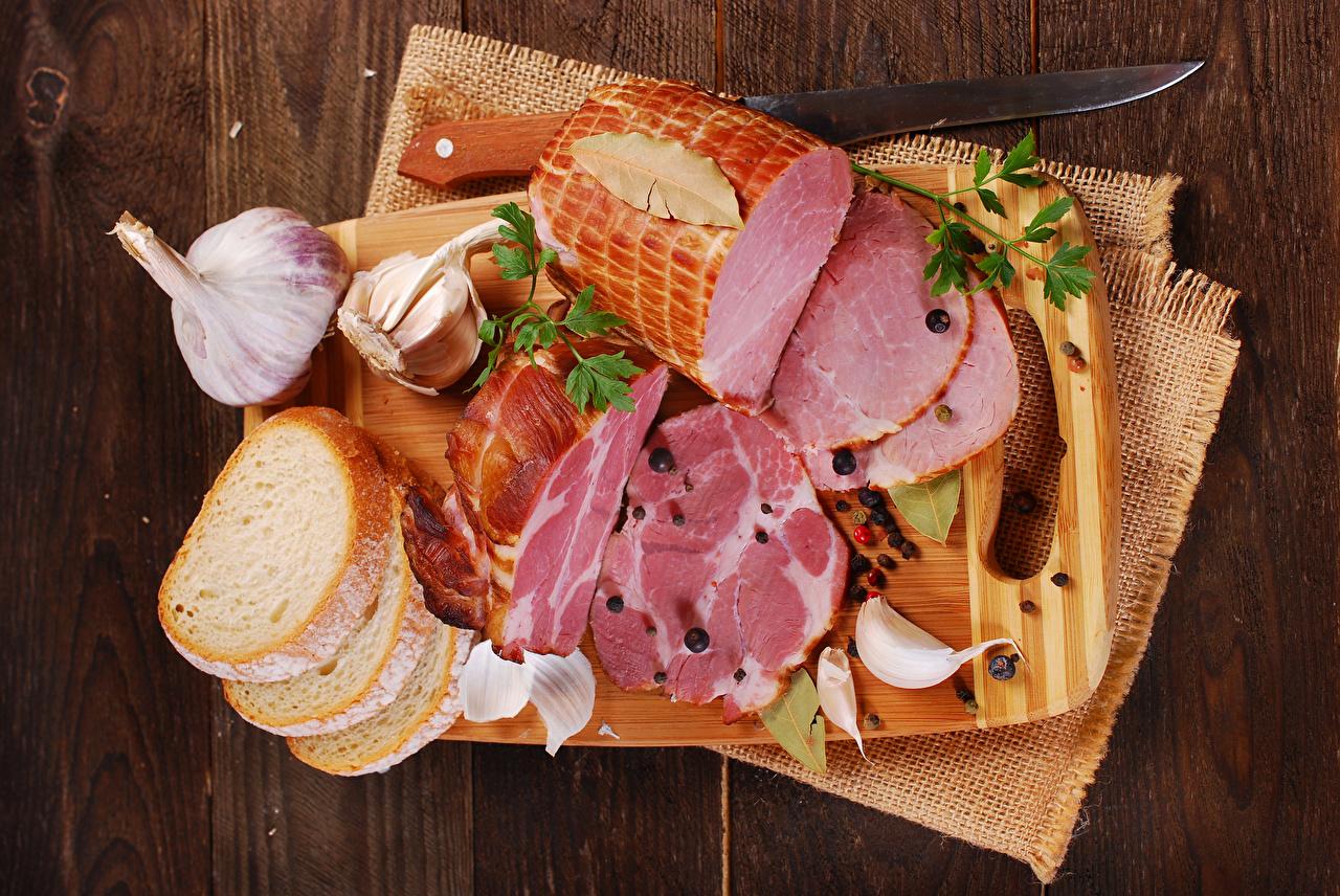 Картинки ножик Хлеб Чеснок Ветчина Пища Разделочная доска Нож Еда Продукты питания