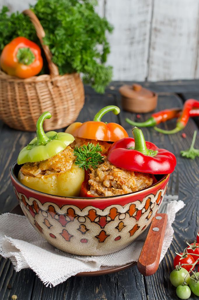 Фотография Еда Перец Вторые блюда Пища Продукты питания