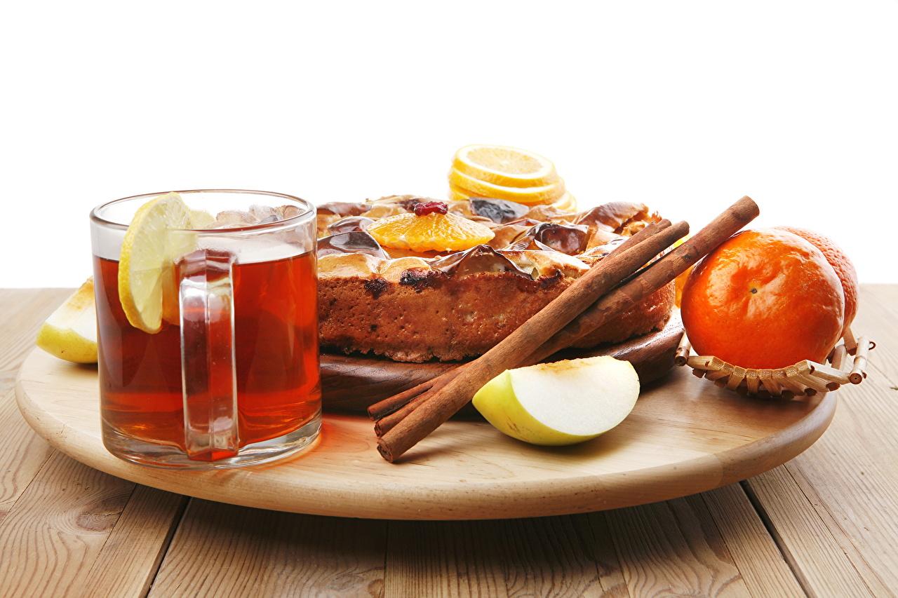 Картинка Пирог Чай Корица Пища Кружка Сладости Еда кружке кружки Продукты питания сладкая еда