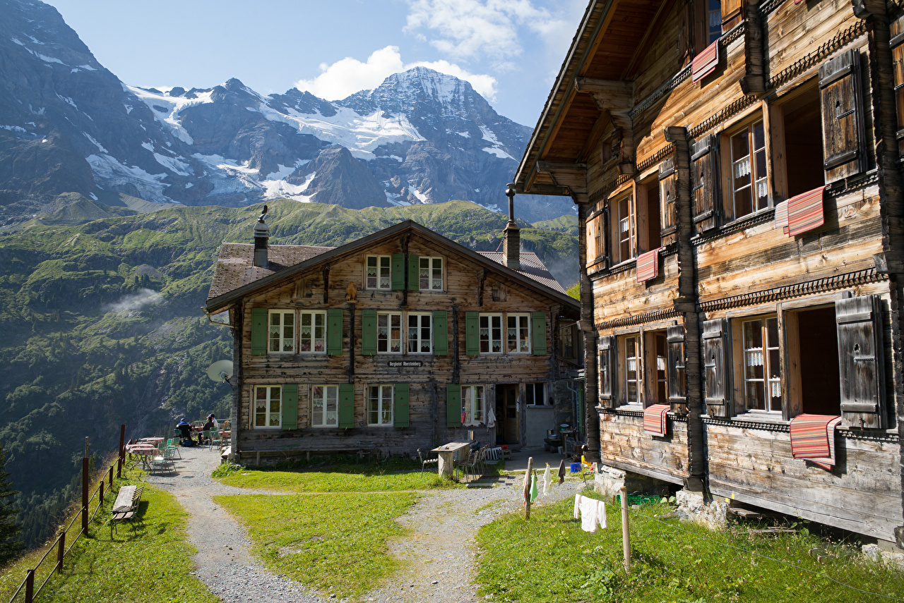 Картинка Альпы Швейцария Hotel Obersteinberg Горы Природа гостиницы Деревянный Здания альп гора отеля Отель Гостиница из дерева Дома