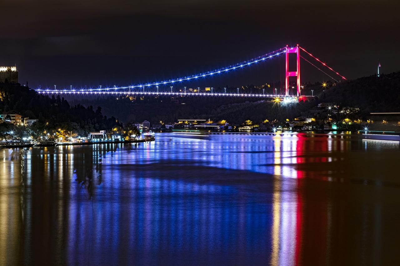 Картинки Стамбул Турция Bosphorus Мосты в ночи Города мост Ночь ночью Ночные город