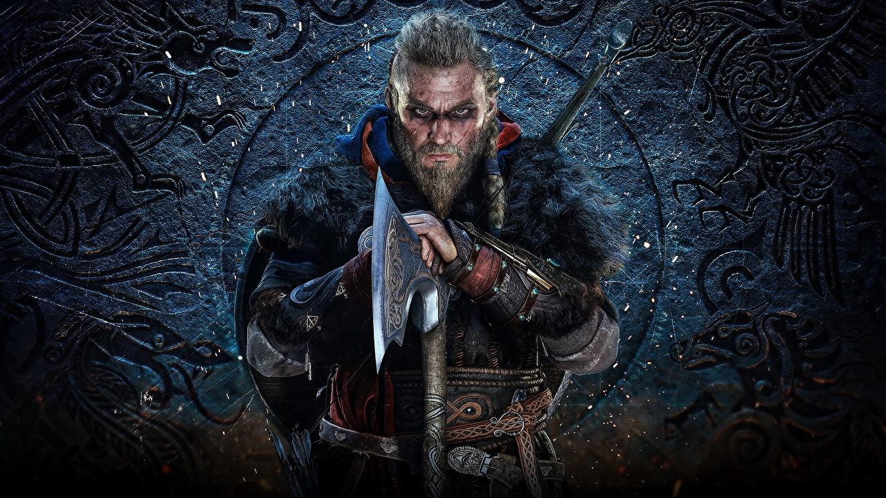 Картинка Assassin's Creed Викинги с топором Воители мужчина Valhalla бородой Игры викинг Боевые топоры / Секиры воин воины Мужчины Борода бородатый бородатые компьютерная игра
