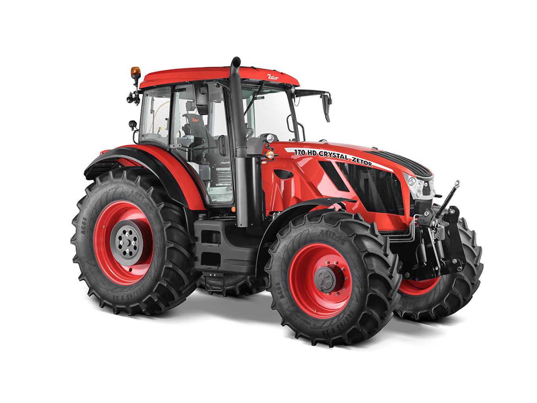 Обои для рабочего стола трактора Zetor Crystal HD 170, 2018 красные Белый фон Трактор тракторы красных Красный красная белом фоне белым фоном