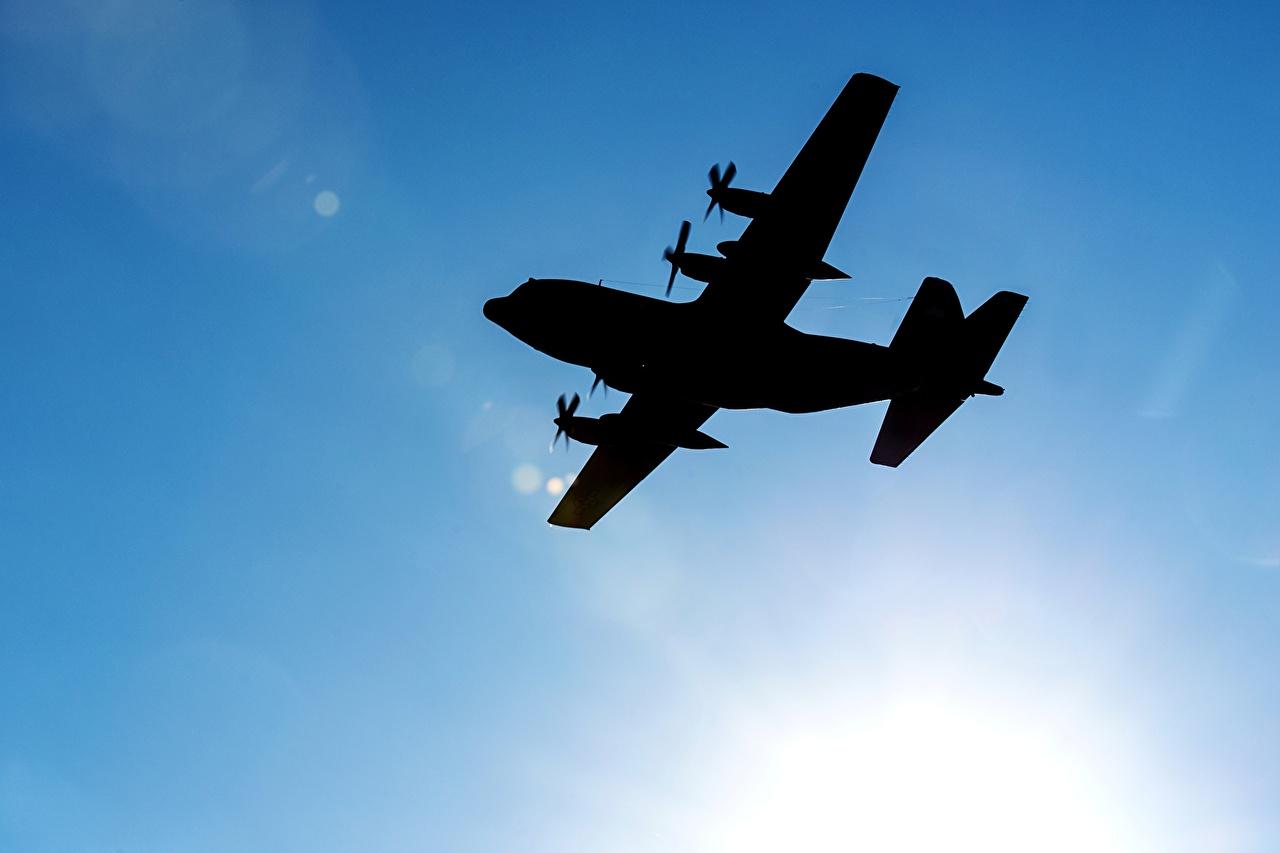Фото Самолеты силуэта C-130 Hercules Небо Авиация Силуэт силуэты
