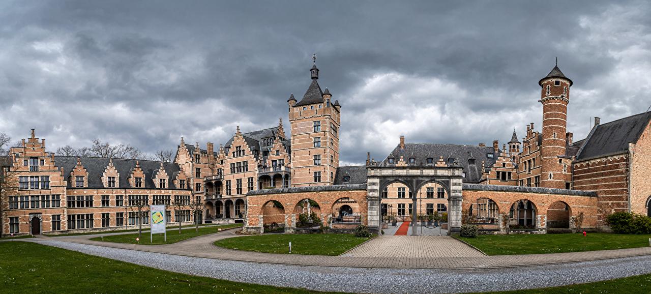 Фото Бельгия панорамная Mortsel, Castle Cantecroy Замки город Панорама замок Города