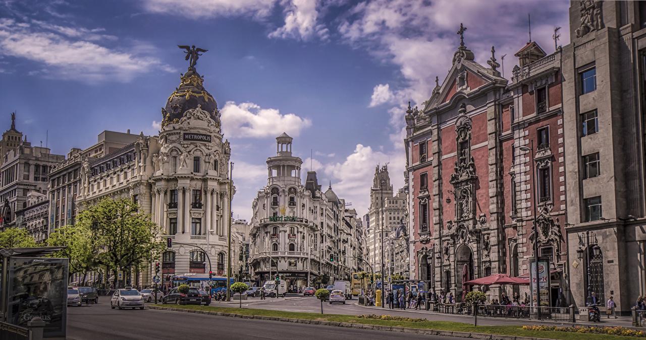 Фотографии Мадрид Испания Улица Дома город улиц улице Города Здания