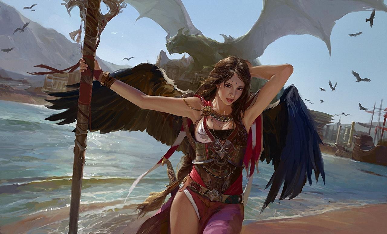 Обои Посохи Драконы Красивые Девушки Фэнтези Ангелы Фантастика