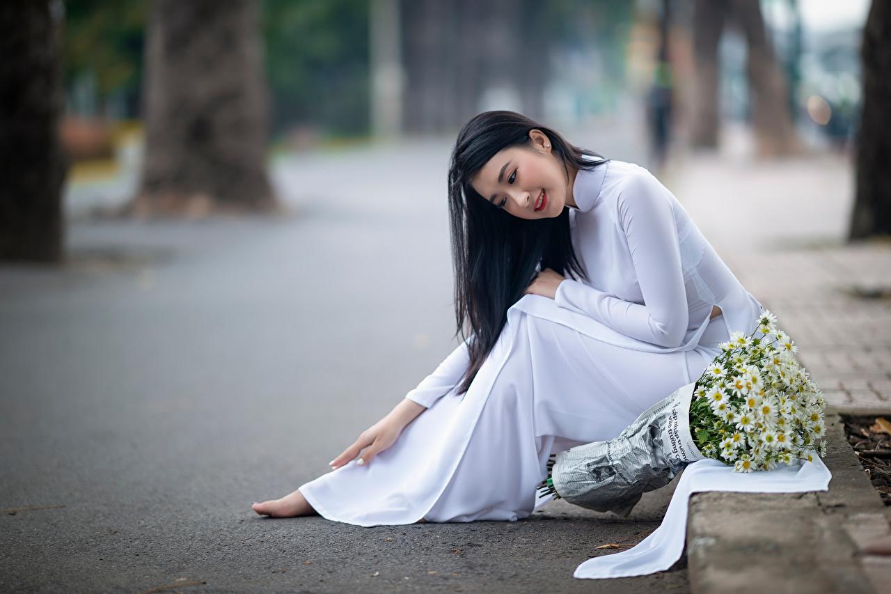 Обои для рабочего стола боке букет молодые женщины азиатка ромашка сидя Платье Размытый фон Букеты девушка Девушки молодая женщина Азиаты азиатки Ромашки Сидит сидящие платья