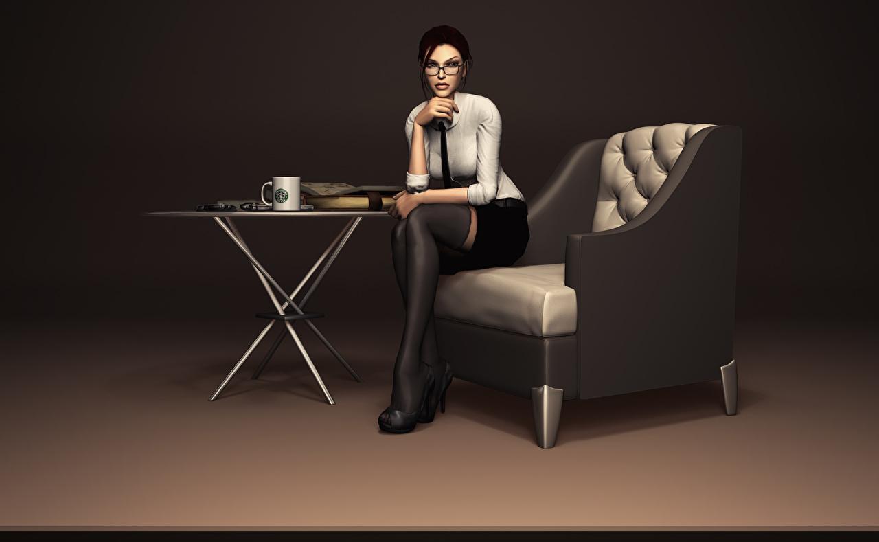 Обои для рабочего стола Tomb Raider Лара Крофт Девушки 3D Графика компьютерная игра очках Кресло 3д девушка молодая женщина молодые женщины Игры Очки очков