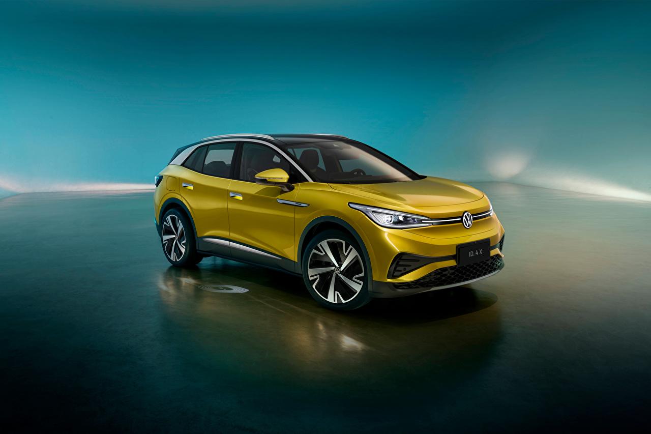Фото Фольксваген Кроссовер ID.4 X 1st, China, 2020 машина Металлик Volkswagen CUV авто машины Автомобили автомобиль