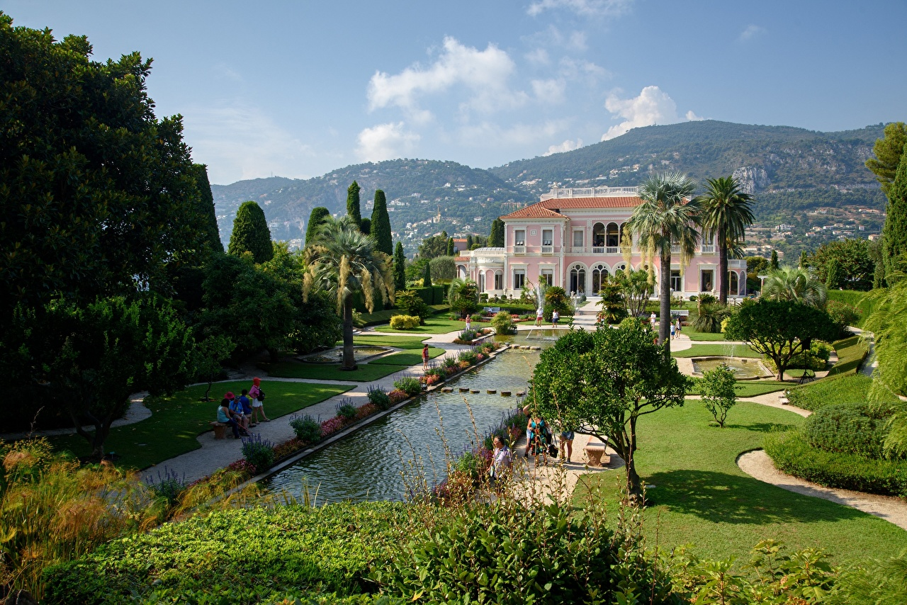 Фотографии Вилла Франция Villa Ephrussi de Rothschild Природа Пруд Газон дерево газоне дерева Деревья деревьев