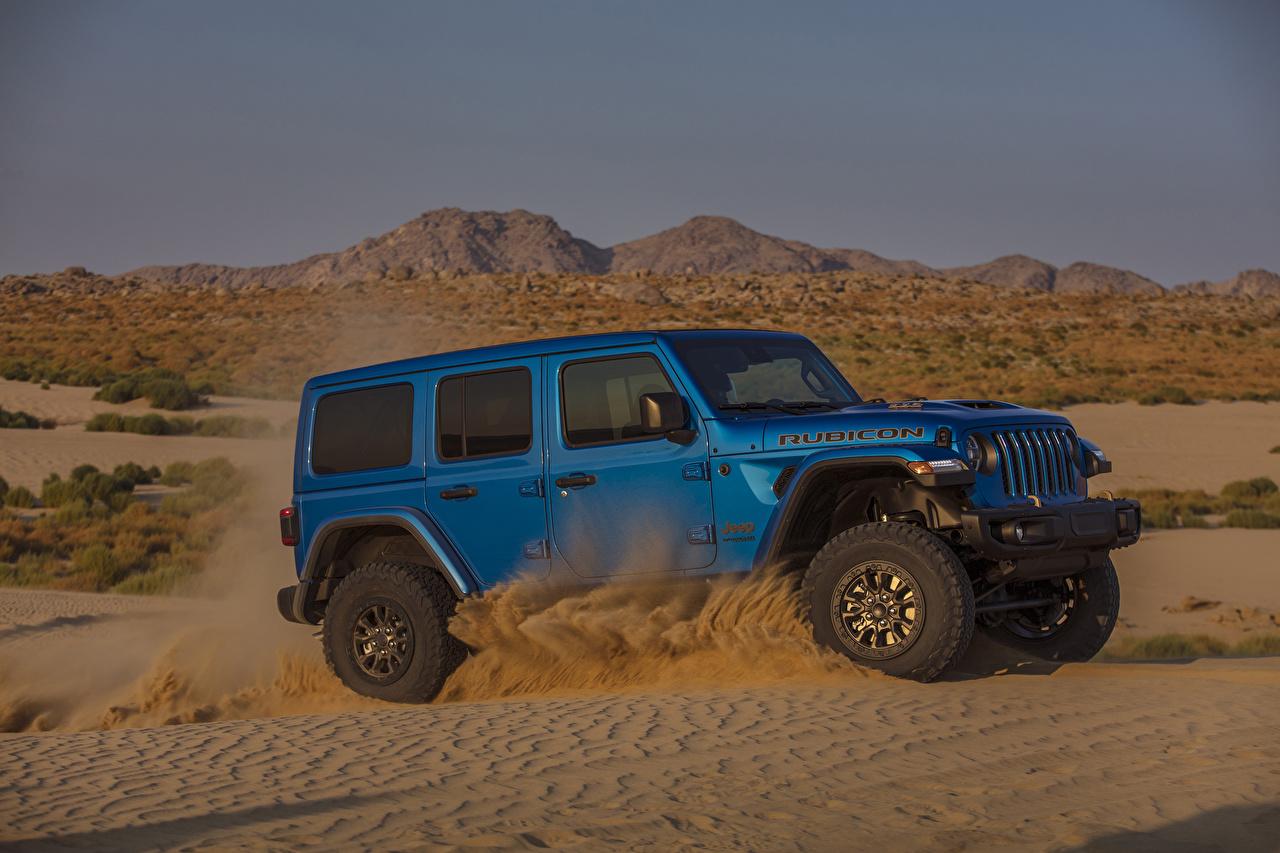 Картинки Джип SUV 2021 Wrangler Unlimited Rubicon 392 синие Сбоку автомобиль Jeep Внедорожник синяя Синий синих авто машины машина Автомобили