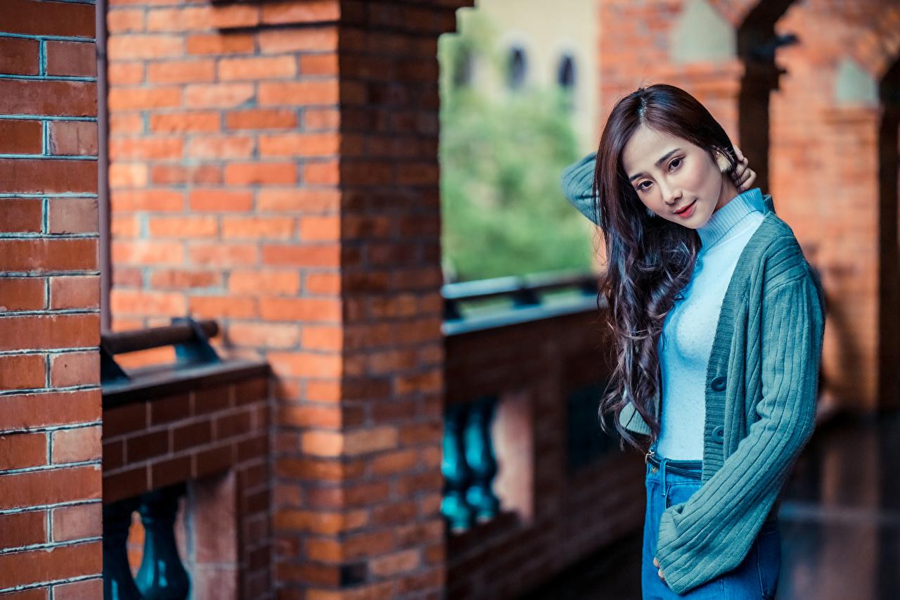 Картинка позирует девушка азиатки смотрят Поза Девушки молодая женщина молодые женщины Азиаты азиатка Взгляд смотрит