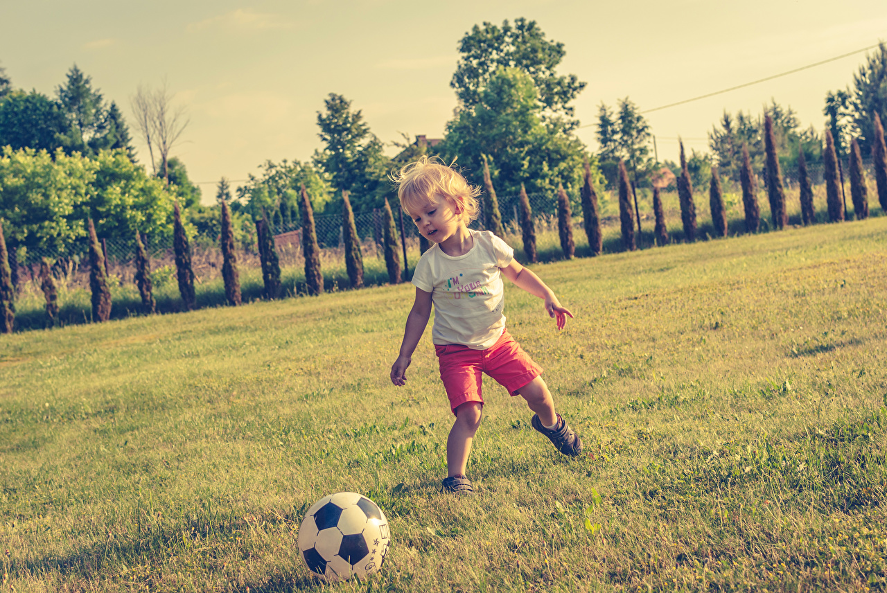 Картинка Мальчики Дети Футбол Трава Мячик мальчик мальчишки мальчишка ребёнок Мяч траве
