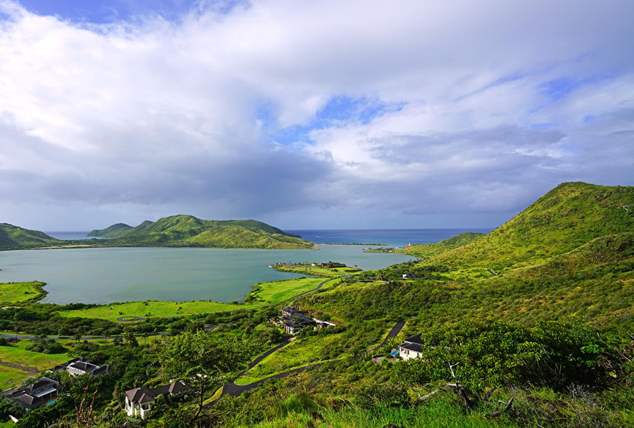 Картинки Christophe Harbour Saint Kitts Caribbean Природа холм тропический заливы Дома Холмы холмов Тропики Залив залива Здания