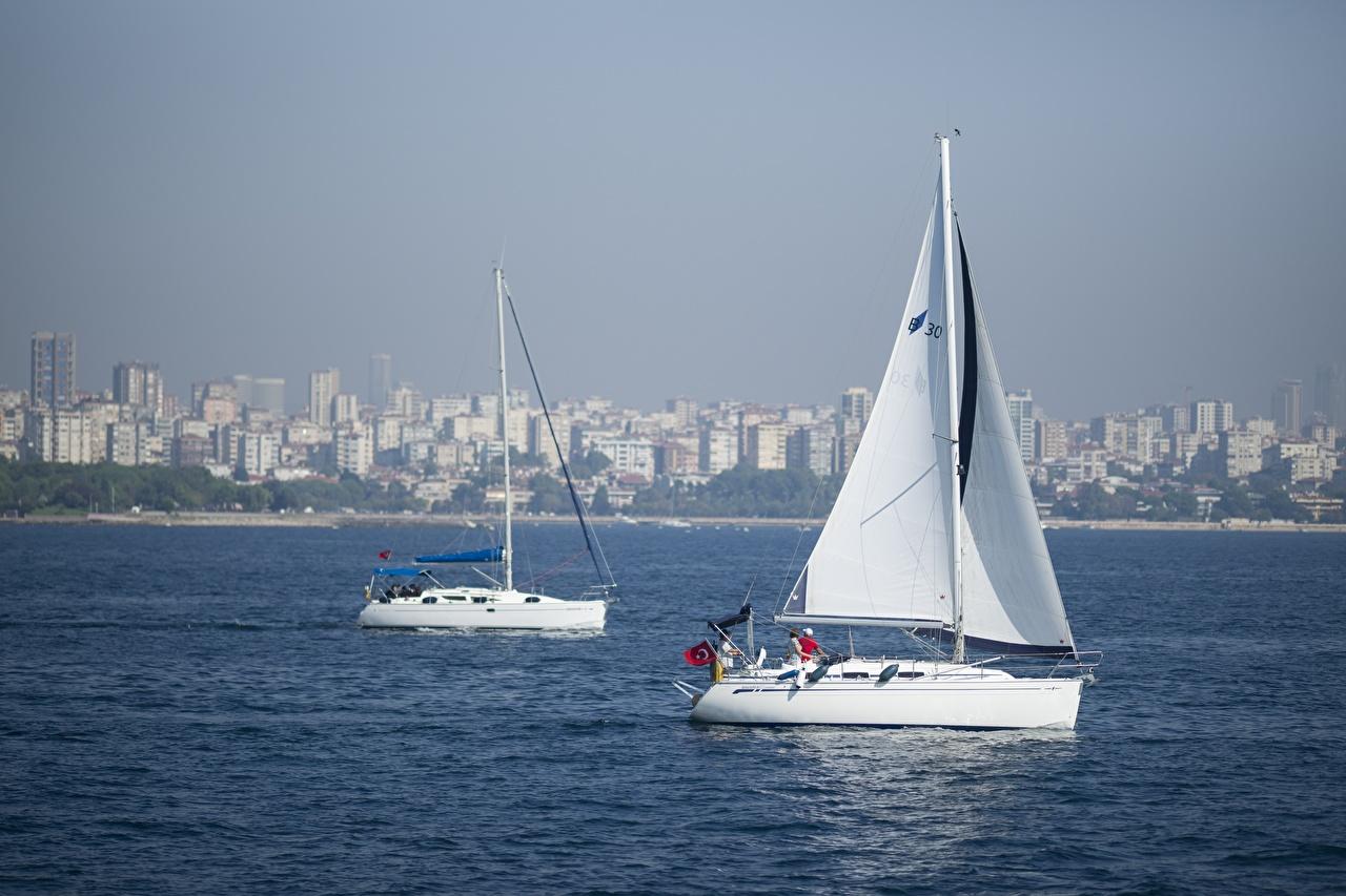 Фотографии Стамбул Турция вдвоем Яхта Парусные 2 два две Двое