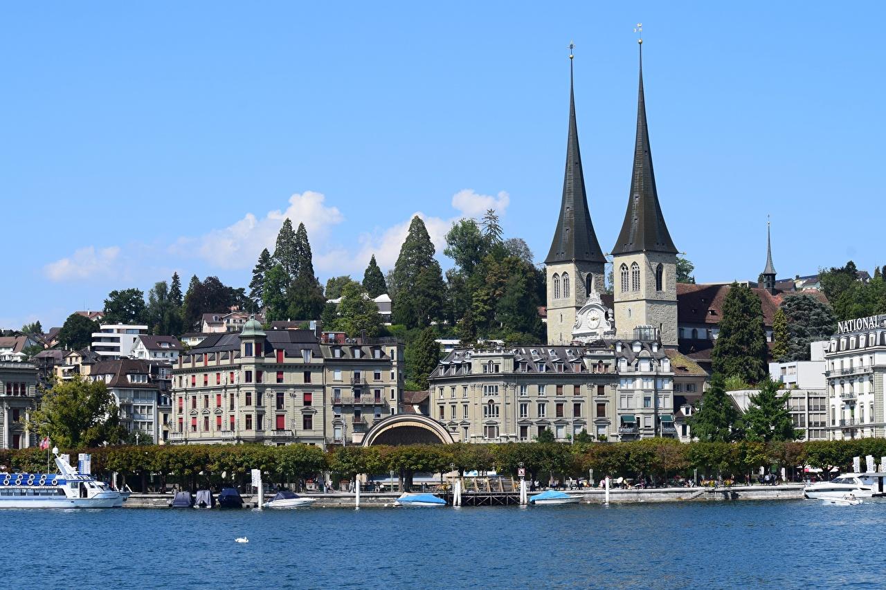 Фотографии Церковь Швейцария Church Of The Hofkirche, Lucerne, Canton of Schwyz, Lake Lucerne Озеро Пирсы Катера Города Здания Причалы Пристань Дома город