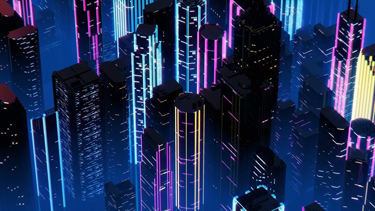 Обои для рабочего стола Синтвейв By SynthEx Ночные Небоскребы Дома Города Ретровейв Ночь ночью в ночи город Здания