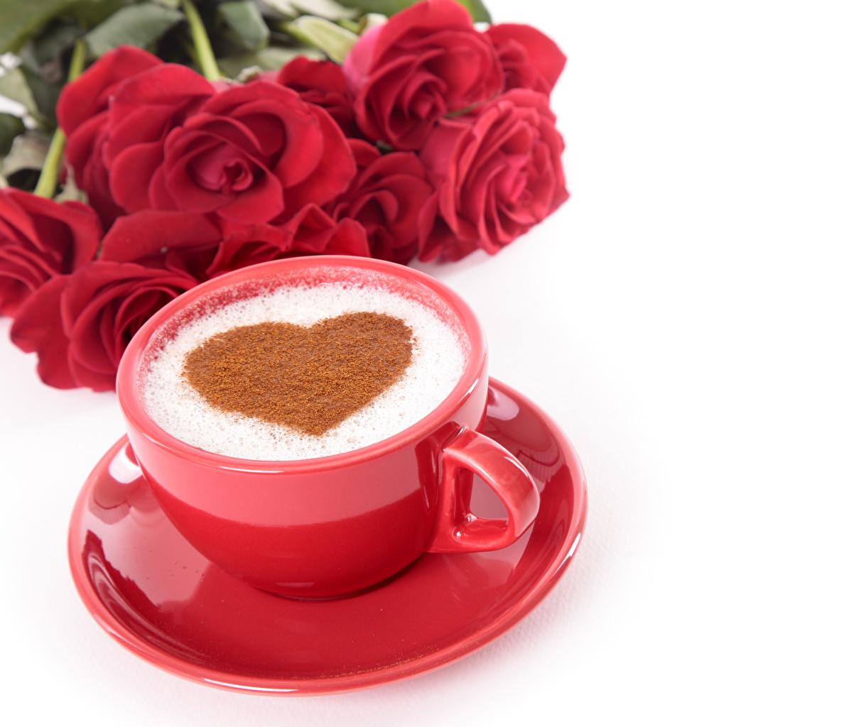 Фотография День всех влюблённых Сердце Кофе роза Красный Еда чашке Блюдце Белый фон День святого Валентина серце сердца сердечко Розы красных красная красные Пища Чашка блюдца Продукты питания белом фоне белым фоном