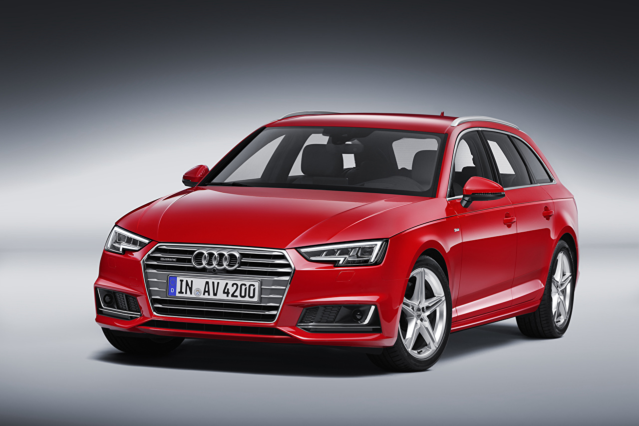 Фотография автомобиль Ауди 2015 A4 Avant TDI quattro S line B9 красные Универсал авто машина машины Автомобили Audi красных Красный красная