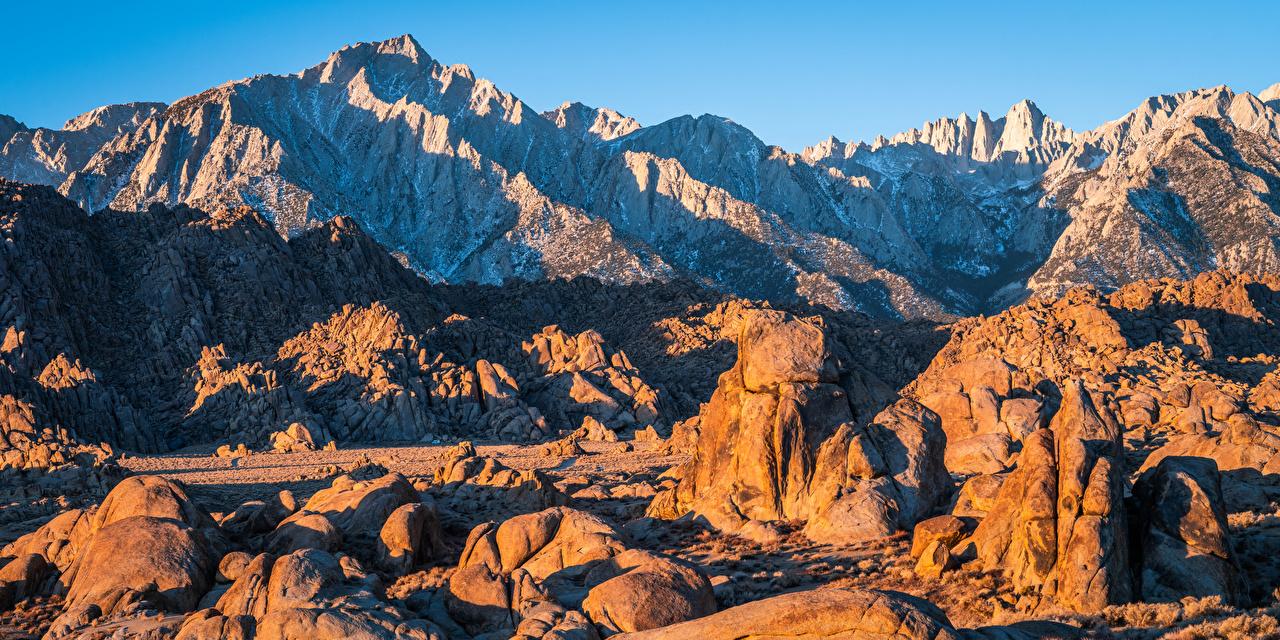 Картинки калифорнии америка Alabama Hills Горы скале Природа Камень Калифорния США штаты гора Утес Скала скалы Камни