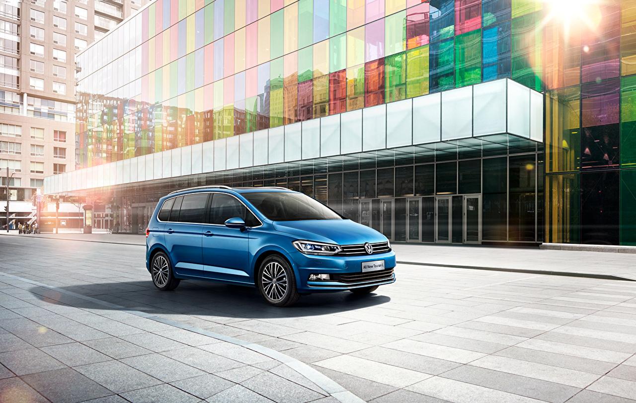 Фото Volkswagen 2016 Touran L Голубой автомобиль Фольксваген голубая голубые голубых авто машины машина Автомобили