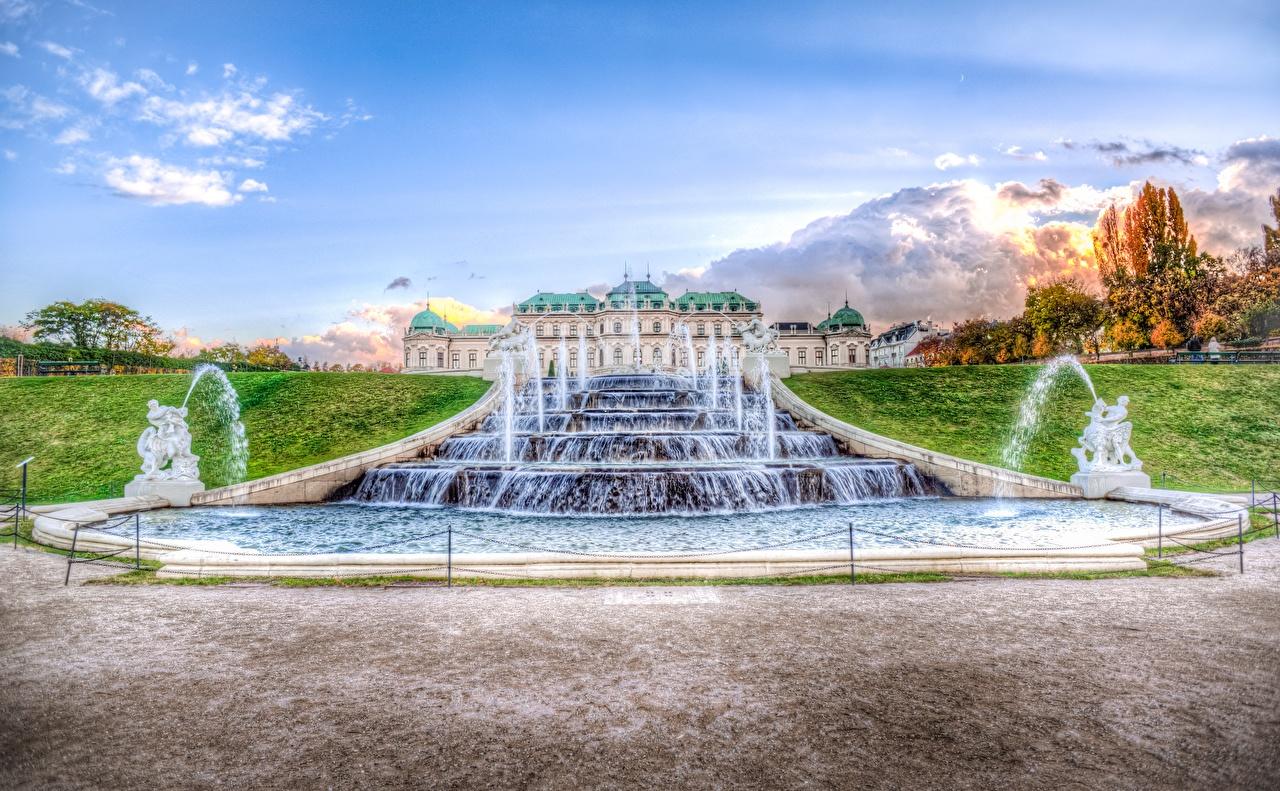 Картинки Вена Дворец Австрия Фонтаны Belvedere город Скульптуры дворца Города скульптура