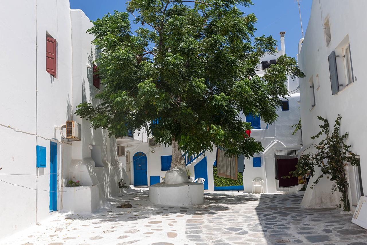 Фотография Греция Kalo Livadi, Mykonos Дома город Деревья Здания дерево дерева Города деревьев