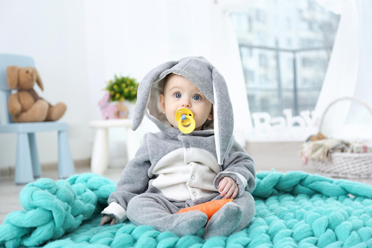 Картинка Пасха Кролики грудной ребёнок Ребёнок Униформа смотрит Праздники Младенцы Дети Взгляд