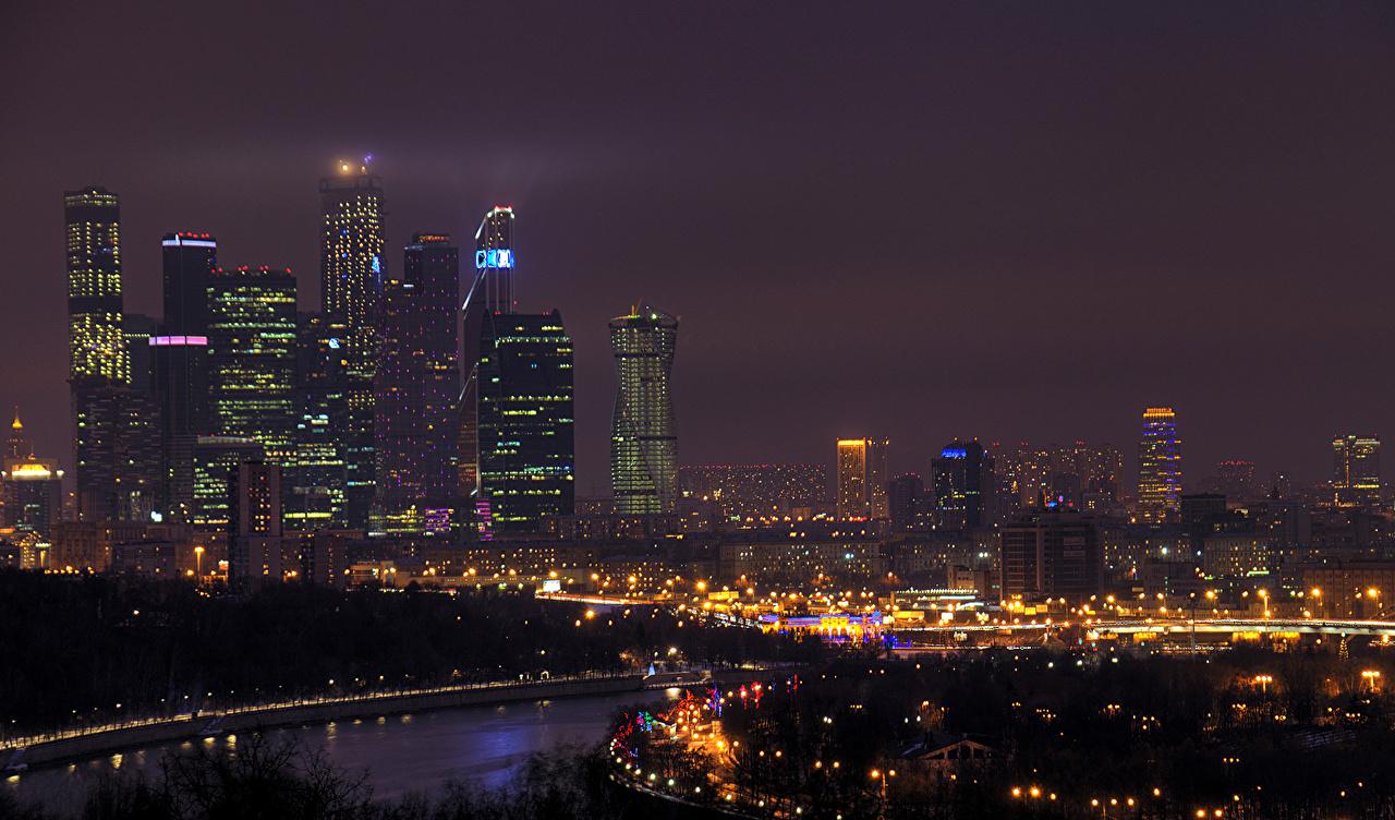 Обои небоскребы, ночь, дома. Города foto 17
