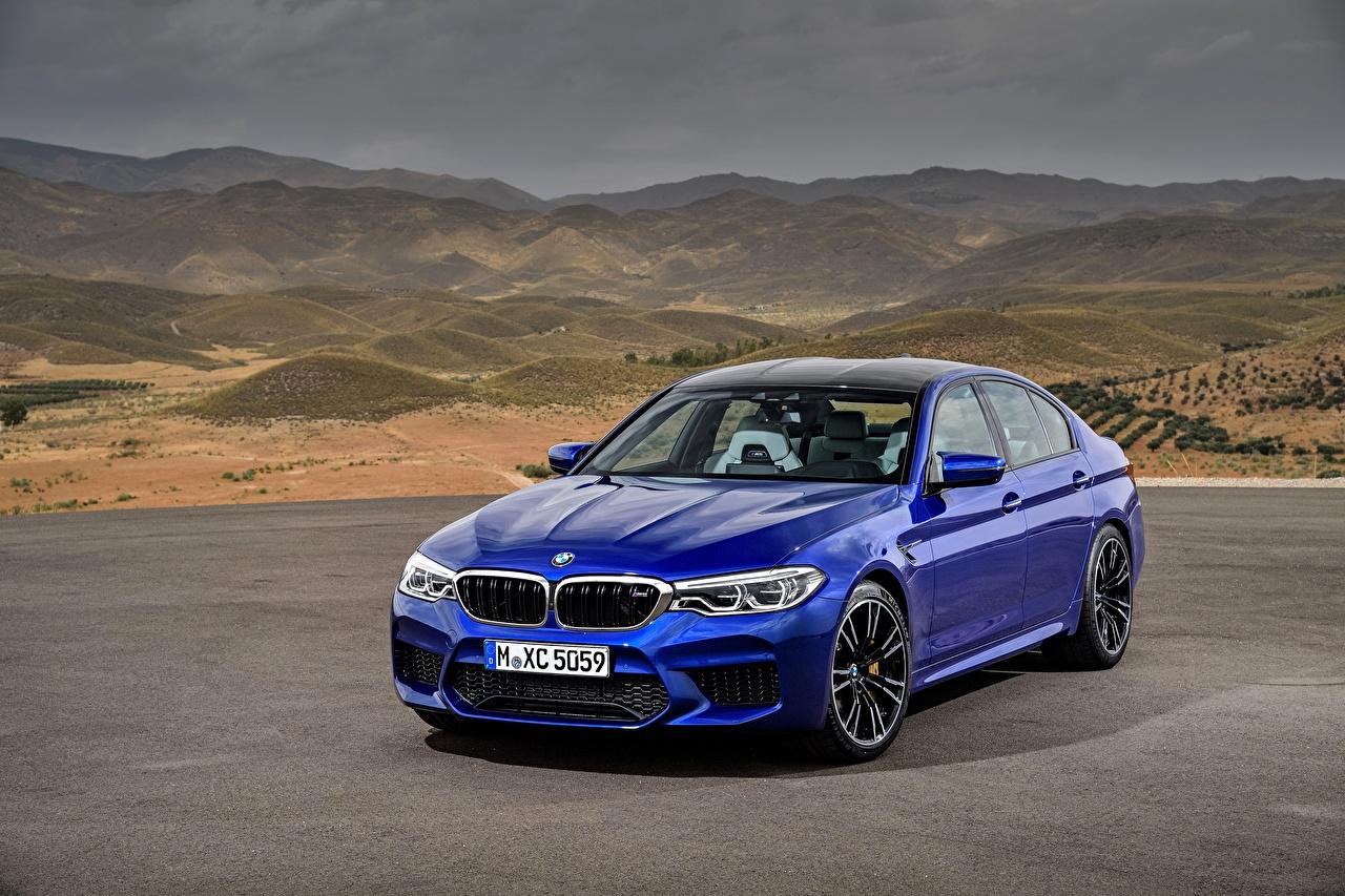 Фотография BMW M5 2017 M5 F90 синих Автомобили БМВ синяя синие Синий авто машины машина автомобиль