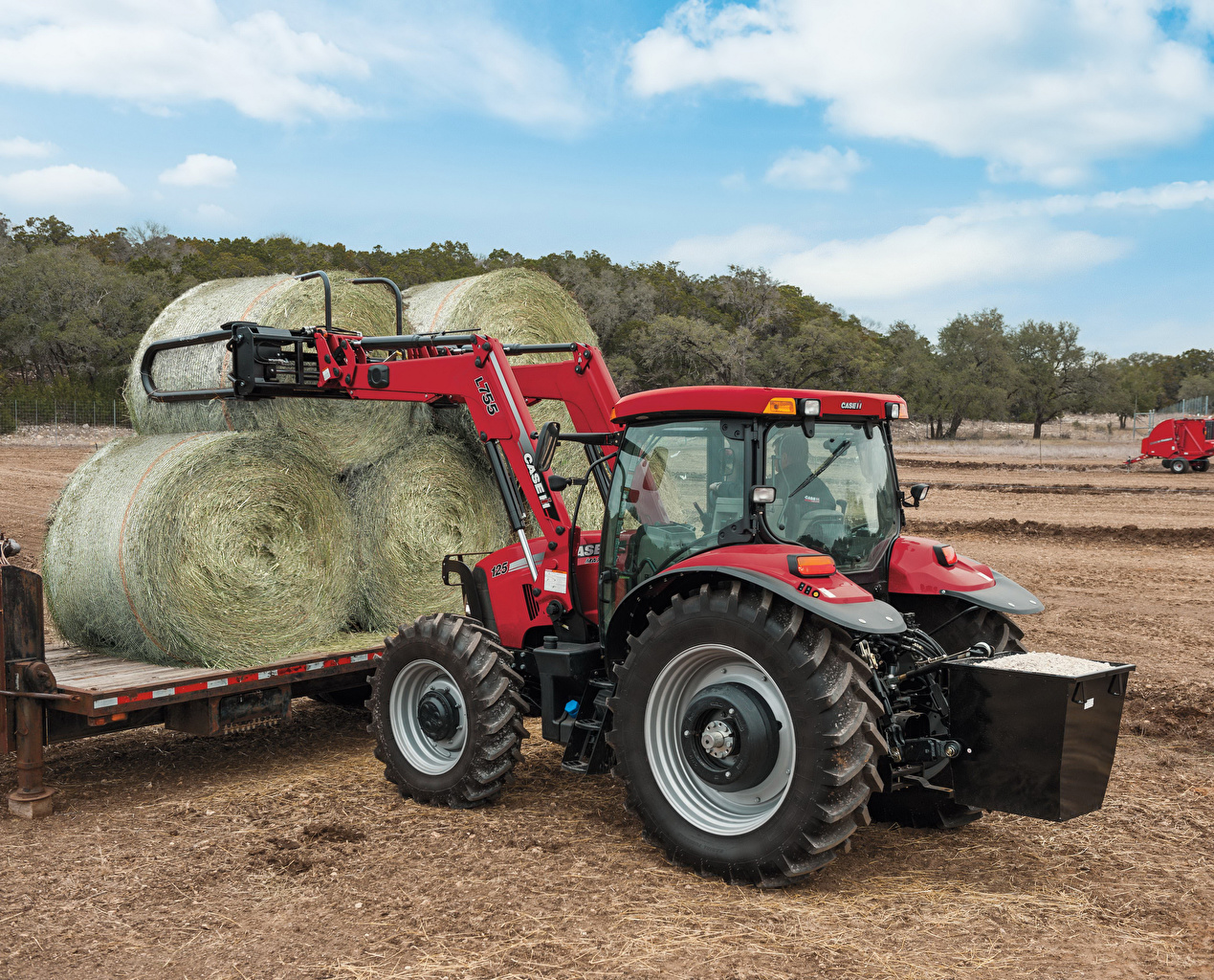 Обои Сельскохозяйственная техника Трактор 2009-15 Case IH Maxxum 125 Поля Сено