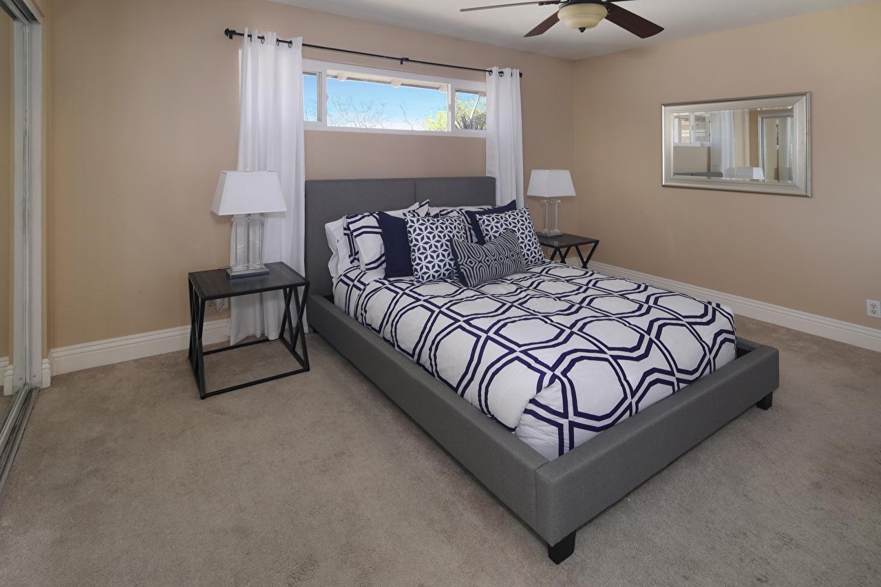 Картинка Спальня Интерьер Кровать подушка дизайна спальни спальне постель кровати Подушки Дизайн
