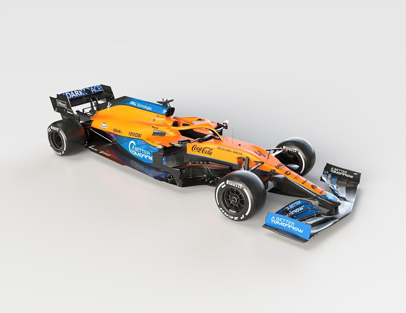 Картинка Тюнинг Макларен 2021 MCL35M Формула 1 авто Серый фон McLaren Стайлинг машина машины Автомобили автомобиль сером фоне