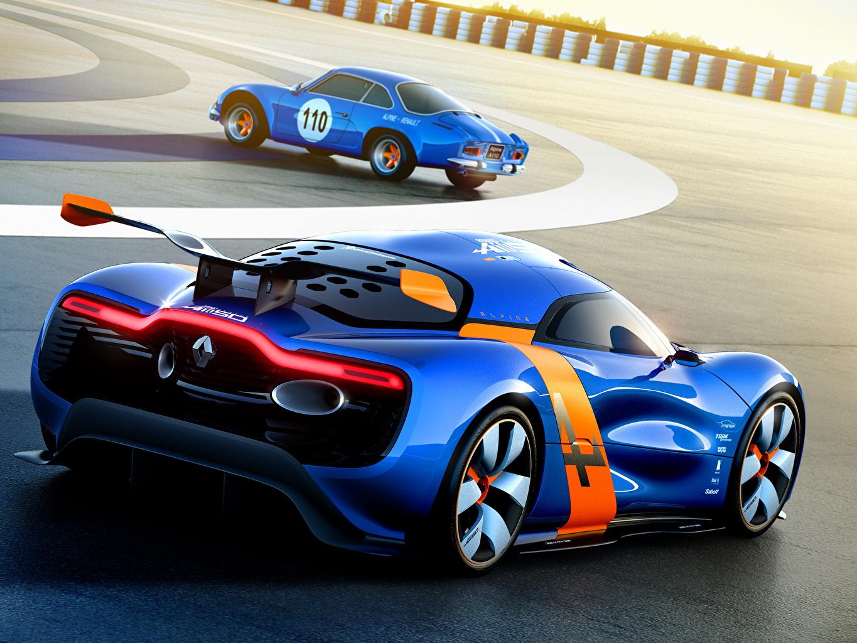 Фото Renault 2012 Alpine A110-50 Синий вид сзади Автомобили Рено синих синие синяя авто Сзади машина машины автомобиль