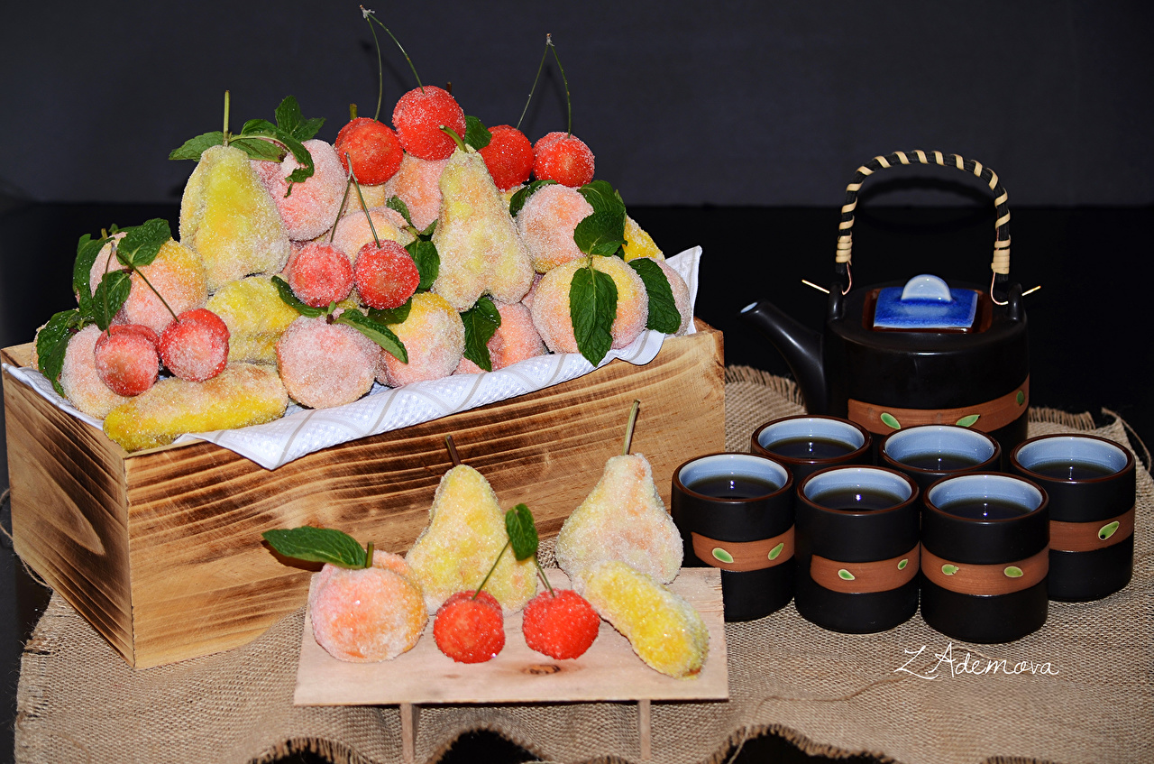 Фото Чай чашке Фрукты Продукты питания сладкая еда Еда Пища Чашка Сладости