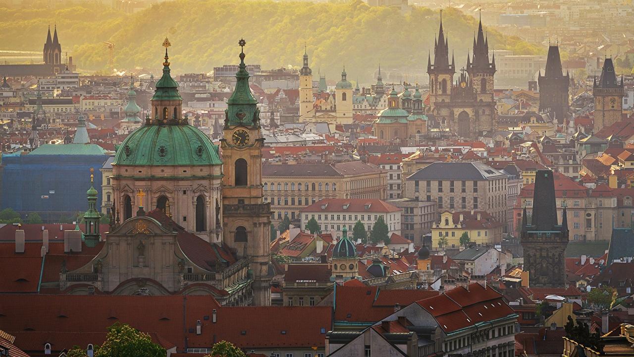 Обои для рабочего стола Прага Чехия купола Города Здания Купол Дома город