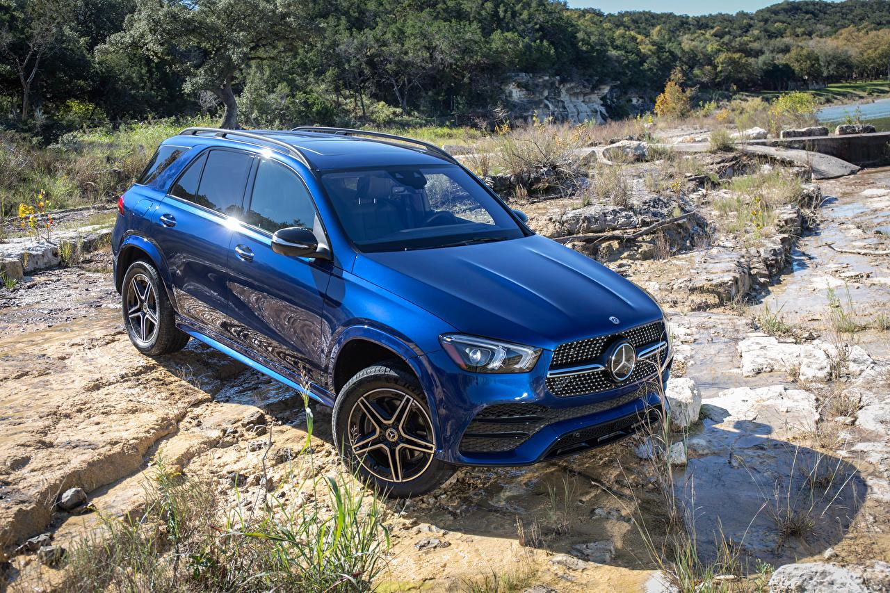 Обои Mercedes-Benz 2019 GLE 350 4MATIC AMG Line Синий Машины Мерседес бенц Авто Автомобили