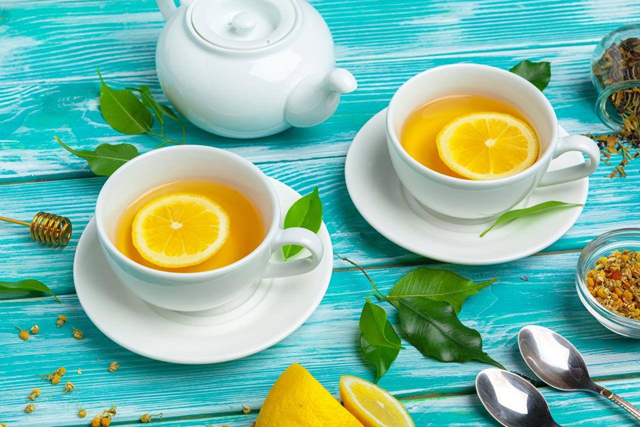 Обои для рабочего стола Чай Чайник Лимоны Чашка ложки Блюдце Продукты питания Еда Пища Ложка чашке блюдца