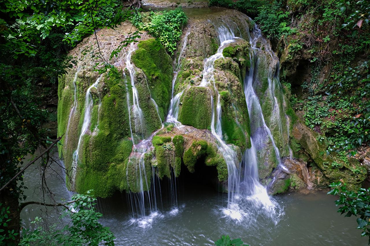 Фотография Румыния Bigar Waterfall Скала Природа Водопады Мох Утес