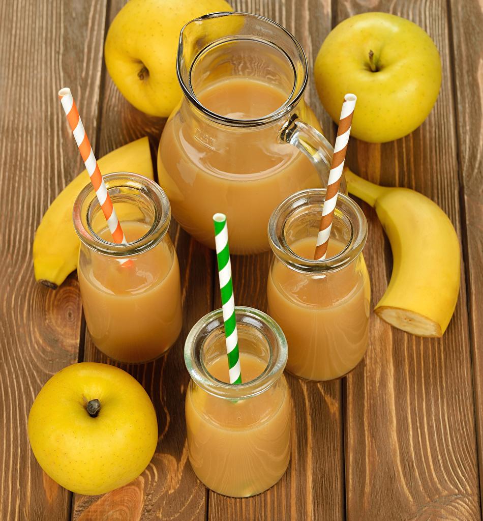Фото Кувшин Яблоки Бананы стакана Еда Коктейль Доски Стакан стакане кувшины Пища Продукты питания