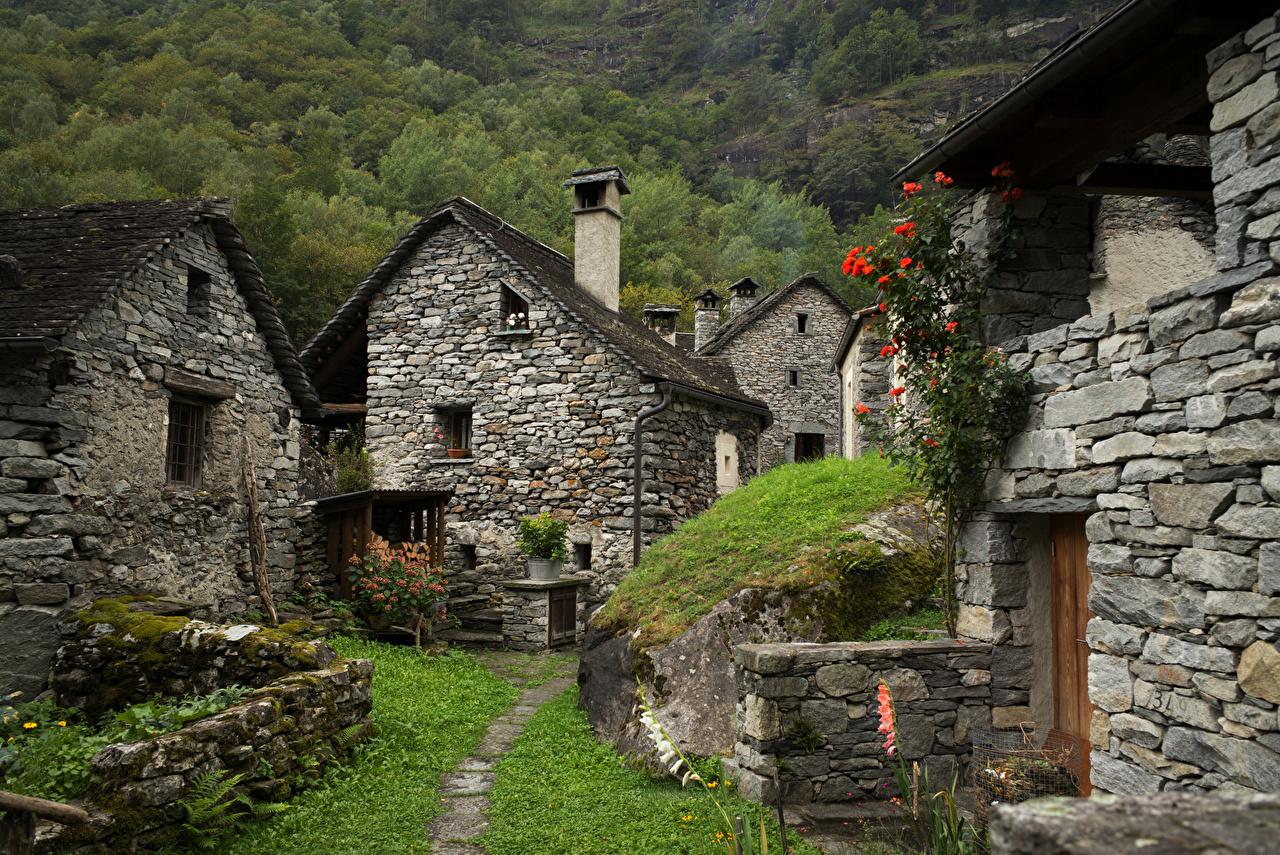 Фото Альпы Швейцария Ticino Природа Каменные Здания альп из камня Дома
