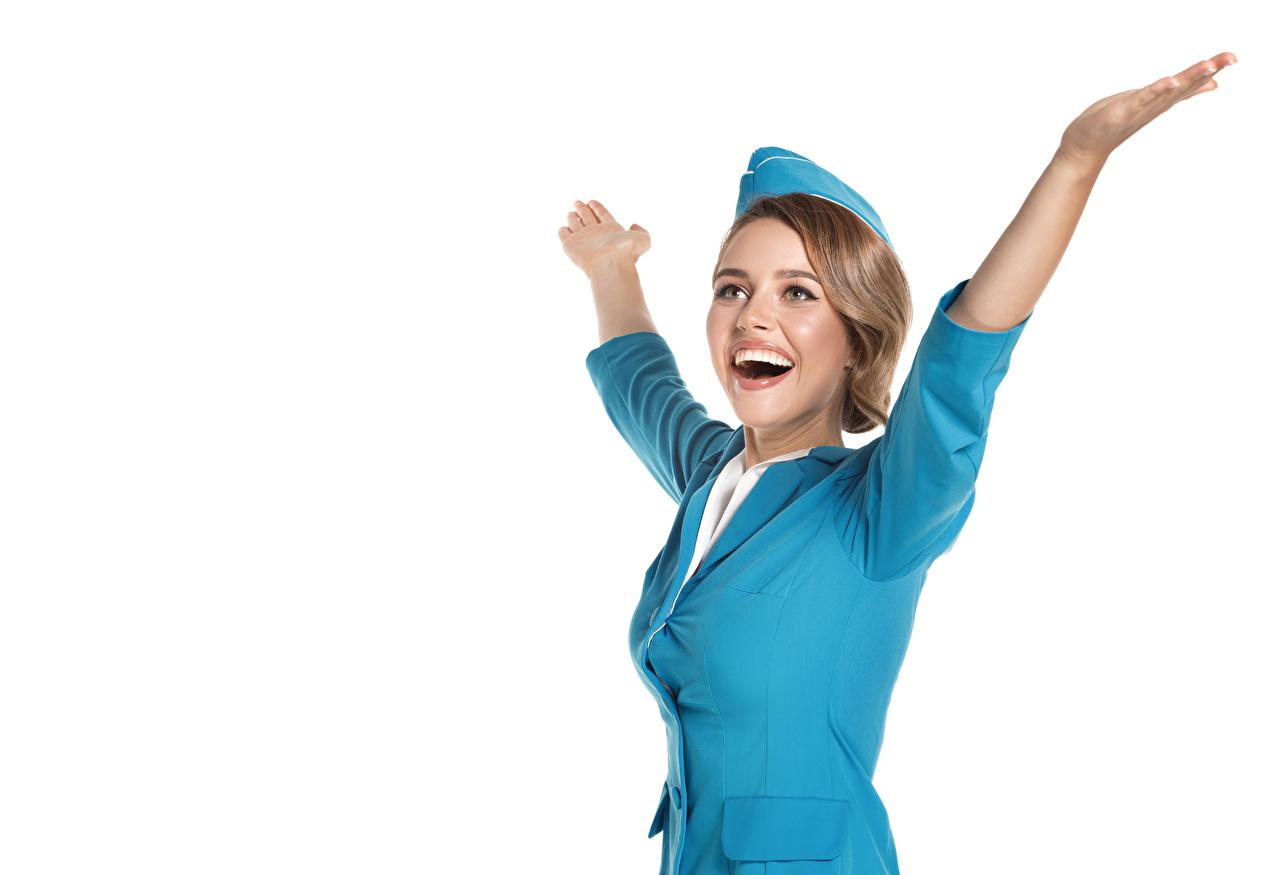 Фото Блондинка Стюардессы счастье Девушки Руки Униформа Белый фон Радость счастливые