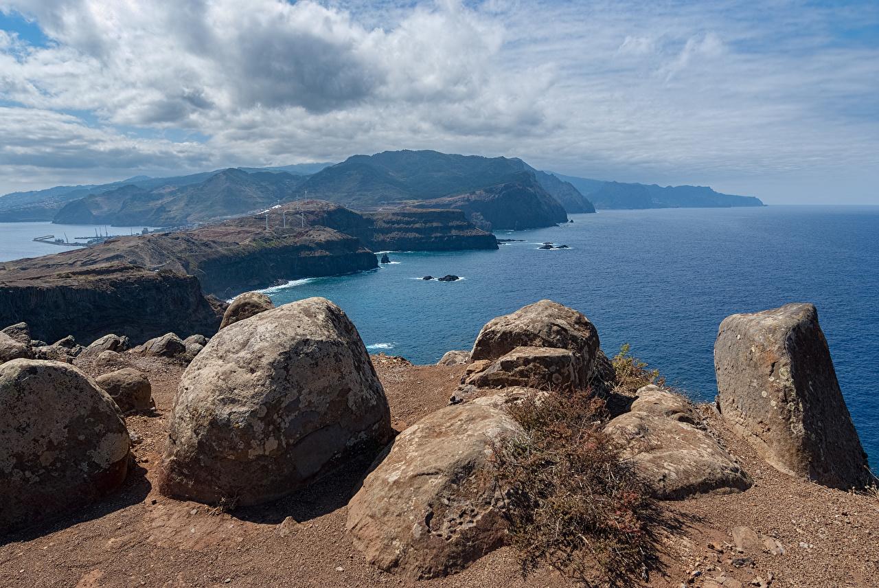Картинки Португалия Madeira Море Природа Небо Камни Побережье берег Камень
