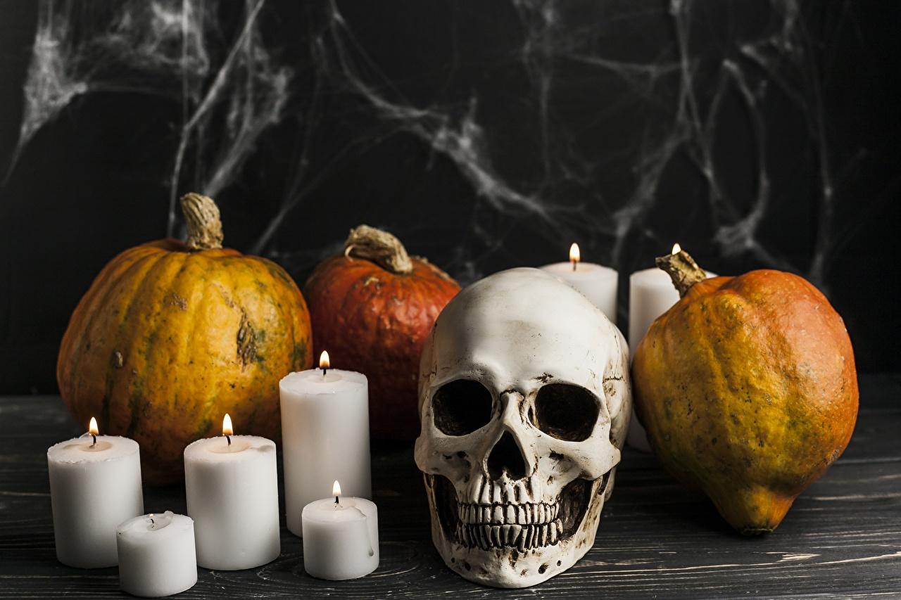 Обои Хэллоуин Черепа Тыква Свечи